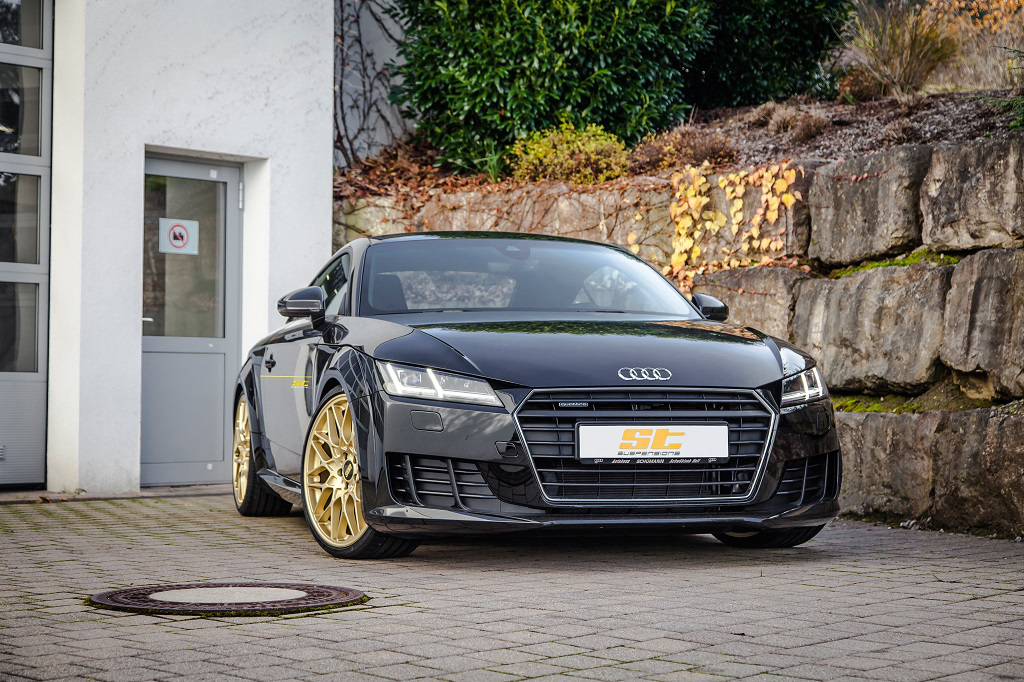 Perfect handling for the current Audi TT: ST XTA Coilovers with top mounts now available